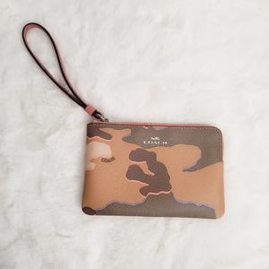 Coach Camouflage Print Leather Wristlet